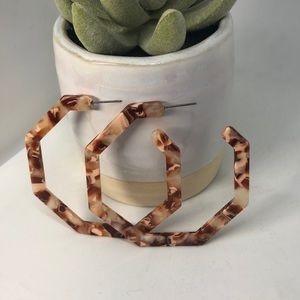 Tortoise Shell Hexagon Hoop Earrings